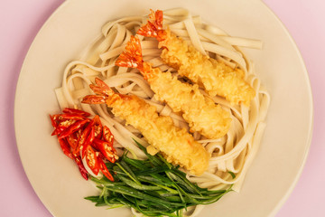 Japanese Style Tempura Prawns With Udon Noodles Chilli and Spring Onions