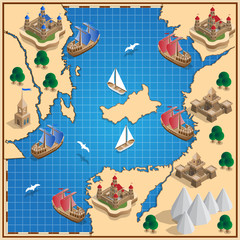 Old map. Isometric. Vector illustration.