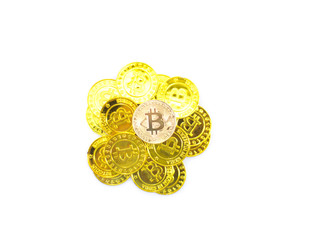 Gold Bitcoin isolated on white background.