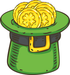 Patrick Day. Leprechaun Hat with Coins