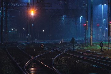 RAYLWAY TRANSPORT - Infrastructure of the railway station at night