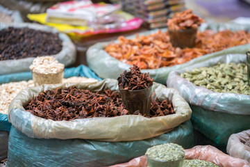Various of Indian colored powder spices and dry ingredient food