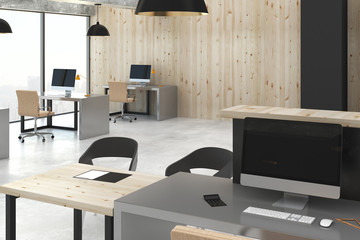 Clean office with city view
