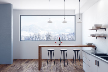 Wall Mural - Modern kitchen interior with view