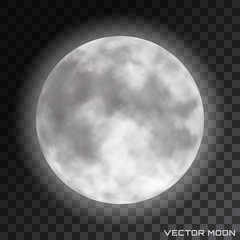Vector realistic beautiful moon with glow effect on transparent background.