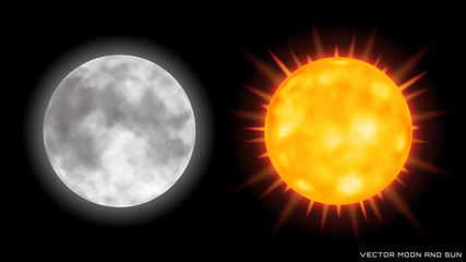 Vector realistic moon and sun with glow effect on dark background.