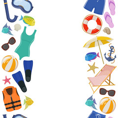 Seamless vertical borders of beach summer holidays accessories, cartoon illustration. Vector