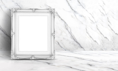 Blank white vintage frame at white clean marble wall and floor background,Minimal simple style interior backdrop.mock up space for adding your text or design in banner.