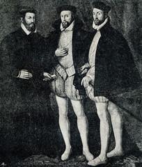 Coligny brothers (from left) - Odet de Coligny, Gaspard de Coligny and François d'Andelot de Coligny (from Spamers Illustrierte  Weltgeschichte, 1894, 5[1], 512)