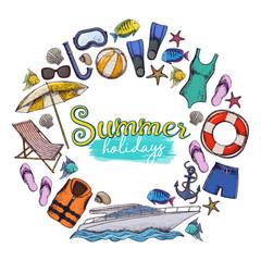 Set of beach summer holidays accessories, sketch cartoon illustration. Vector