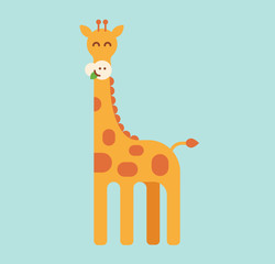 Giraffe on a green background