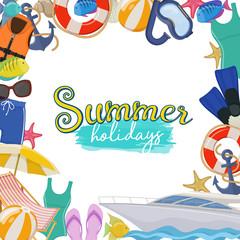 Set of beach summer holidays accessories, cartoon illustration. Vector