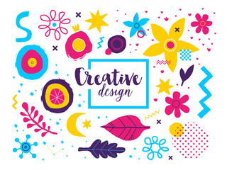 Creative background template with abstract hand drawn elements. Useful for advertising and graphic design.