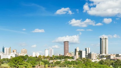 Wall Mural - Timelapse sequence of the skyline of Nairobi, Kenya with Uhuru Park in the foreground