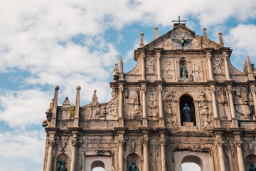 Ruins St.Paul Church with dramatic sun light, famous landmarks and world cultural heritage in centre of Macao/Macau, China