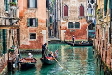 Foto op Plexiglas Gondolas Venedig, Kanal
