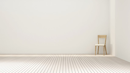Chair in white room artwork for apartment or hotel - Interior simple design - 3D Rendering