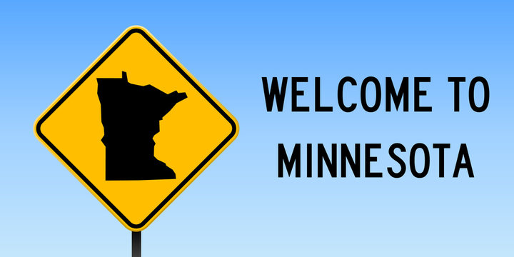 Minnesota map on road sign. Wide poster with Minnesota us state map on yellow rhomb road sign. Vector illustration.