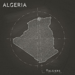 Algeria chalk map with capital marked hand drawn on textured school blackboard. Chalk Algeria outline with Algiers marked. Vector illustration.