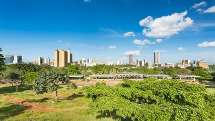 Wall Mural - Timelapse sequence of the skyline of Nairobi, Kenya with Uhuru Park in the foreground in 4K