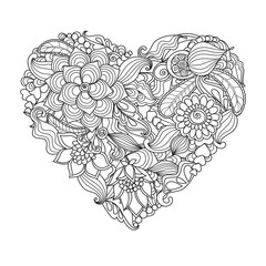 The  drawn   heart with flowers and plants for Valentine's Day or weddings
