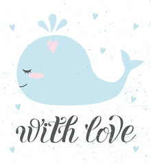Vector love card of cute object