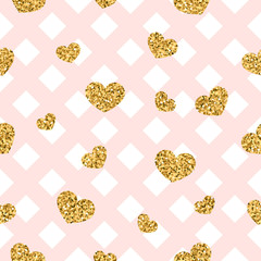 Gold heart seamless pattern. Pink-white geometric decoration, golden confetti-hearts. Symbol of love, Valentine day holiday. Design wallpaper, background, fabric texture. Vector illustration