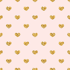 Gold heart seamless pattern. Golden geometric confetti-hearts on pink background. Symbol of love, Valentine day holiday. Design wallpaper, fabric texture. Vector illustration