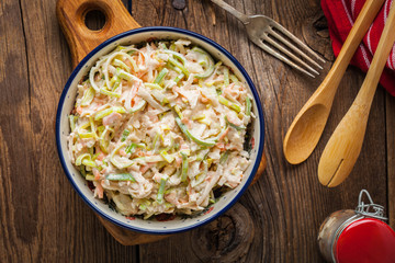 Salad with leek, carrots and apples.