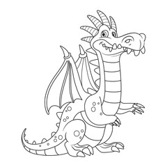 Cute cartoon dragon with a bone comb outlines for coloring isolated on white background