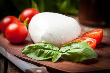 Mozzarella, tomato and basil.