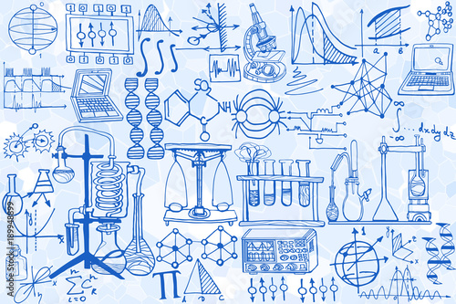 U0026quot;Vector Seamless Pattern With Sketch Elements Related To Science Or Education. Physics Or ...