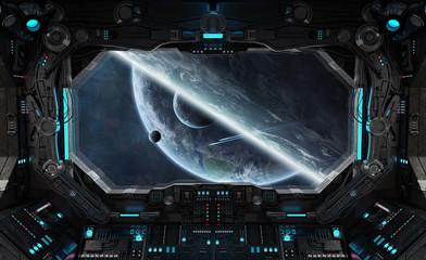 Spaceship grunge interior with view on exoplanet