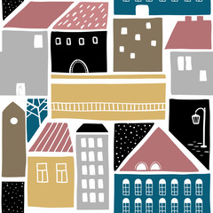 Seamless pattern with old town buildings.