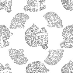 Seamless pattern from line art corals sea life object black and white