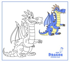 Cute cartoon dragon with a bone comb color and outlines for coloring isolated on white background