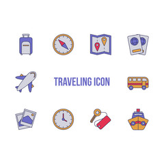 Traveling icon filled line cohesive for illustration or presentation.