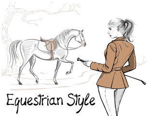 Beautiful fashion woman with english equestrian sport hunting style jacket and horse with saddle. Rider girl and tree hand drawing art. Vector illustration stylish lady model with whip and hair tail
