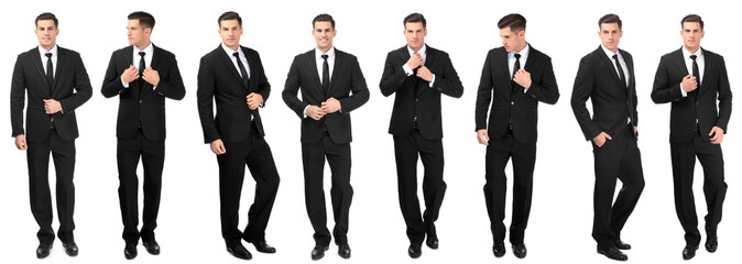 Collage with young handsome man in elegant suit posing on white background