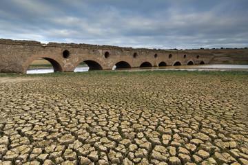 Roman bridge in a dry dam