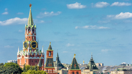 Fototapete - Towers of Moscow Kremlin on the blue sky background