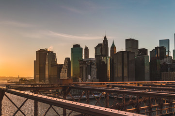 New York from Brooklyn Bridge at Sunset