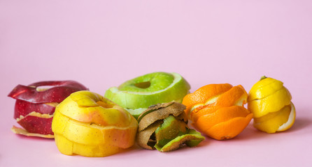 kiwi, orange, lemon and red, green, yellow apple peels on pink background as a symbol of recycling circulate economy