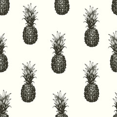 Vector hand drawn seamless pattern with pineapple. Tropical summer fruit engraved style illustration. Can be use for adversiting, packaging, greeting cards, posters.
