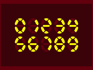 A set of neon numbers for displays of electronic devices in the oval