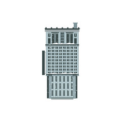 Vector flat building icon. Modern business architecture. Office apartment, residential construction. Downlown metropolis symbol for urban landscape background design, Isolated illustration