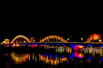 Danang, Beautiful And Lighting At Night in, Danang, Vietnam