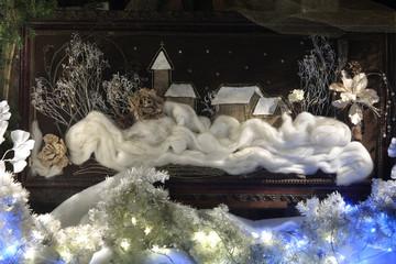 Obraz tkany na płutnie, zimowy krajobraz.