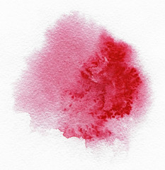 Watercolor. Abstract red spot on watercolor paper. Ink drop. Beautiful watercolor design elements. Grunge banner