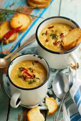 spiced red lentil and root vegetable soup vegan